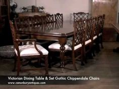 Victorian Dining Table Set Gothic Chippendale Chairs