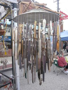 Awesome wind chime or chandelier. Hang from high place, stand underneath and feel the uneasiness, I love it.