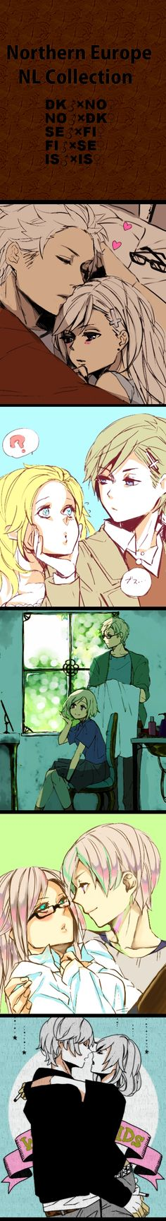 Hetalia Nordics. Het!SuFin, Het!DenNor, and Iceland and ... Iceland. (Iceland seems like a egomaniac in this pic)