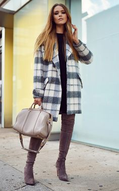 Kristina Bazan in one of many plaid coats for fall. This one is from Fairly.