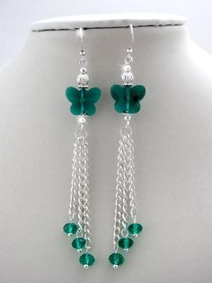 Crystal Butterfly Earrings, tassel earrings