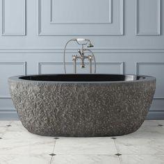 """I love this tub, in cream  60"""" Augustus Chiseled Stone Tub  http://www.signaturehardware.com/bathroom/bathtubs/60-augustus-chiseled-stone-tub.html"""