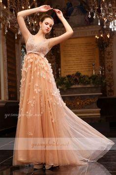 Luxury Petals Peach Chiffon Sleeveless V-neck A-line Evening Dress