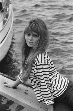 Long hair. Loose sailor shirt. Young Bridgitte Bardot.