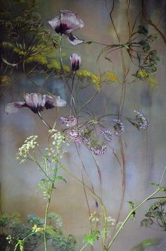 Stunning large scale wildflowers and tulips by wall painting artist Claire Basler. Arte Floral, Botanical Art, Painting Inspiration, Flower Art, Painting & Drawing, Beautiful Flowers, Simple Flowers, Illustration Art, Fine Art