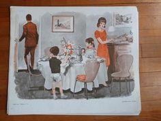 papa va travail petit déjeuner famille Ancienne Affiche scolaire MDI lecture