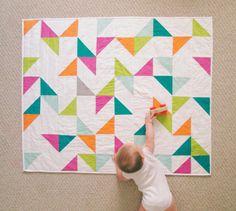 Die Konfetti-Quilt: Geburtstagsfeier - moderne Dreieck Quilt