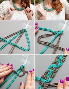 diy macramé, tuto rideau not in English but good demosHow to Tie Macrame KnotsMacrame technique using tshirt strips.Wall panels handmade macramé tNew Best Creative Ideas for Making Painted Rock Painting reasons you should be scrapbooking che Macrame Patterns, Weaving Patterns, Beaded Statement Necklace, Diy Necklace, Diy Friendship Bracelets Patterns, Bracelet Crafts, Macrame Tutorial, Diy Macrame, Macrame Projects