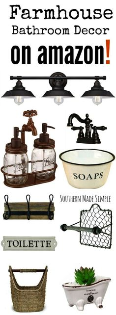 The BEST collection of Farmhouse style decor to spruce up your bathroom and it's all available on Amazon! Hello 2 day shipping!