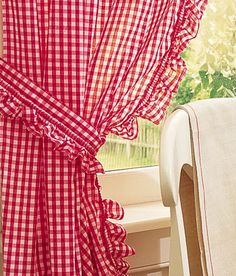 Gingham Ruffled Tiebacks - these are the curtains I hope to find with tiny checks and tie backs and or valance