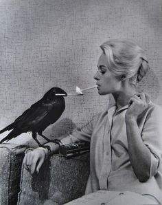 Tippi Hedren taking a break with a friend during filing of The Birds