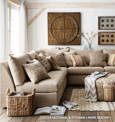 warm neutrals, corner sofas always look like a neat way of having lots of seating.
