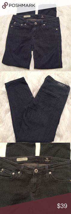 "AG Adriano Goldschmied Stilt Crop Cigarette Jeans Good pre-loved condition – the fabric is a lightweight denim that's almost more stretch than denim if that makes sense. Bluish black faded wash. Size 25. 27"" waist. 7""rise. 12.75"" rear rise. 25"" inseam. Ag Adriano Goldschmied Jeans Ankle & Cropped"