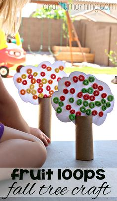 Toilet Paper Roll Fall Tree Craft Using Fruit Loops #Fall craft for kids to make! | CraftyMorning.com