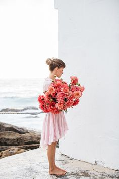 Bunches of pink dahlias.