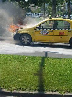 Un taxi a luat foc la compartimentul motor în zona Bibliotecii Naționale din București Taxi, Vehicles, Car, Vehicle, Tools