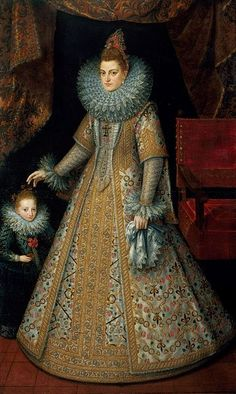 The Infanta Isabella Clara Eugenia, Archduchess of Austria pictured together with her dwarf by Frans Pourbus the younger circa 1600