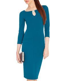 Teal bodycon keyhole dress Sale - Goddiva Sale