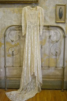 1930s Cream Lace Bias Cut Wedding Dress // XS // Small. $180.00, via Etsy.