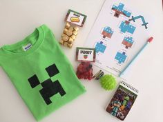 Thank you Pinterest for all the great Minecraft goodie bag ideas!  This is the loot that was given at Aidan's 8th bday party. #minecraft