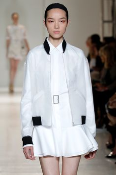 The jacket is so cute but gets lost over white. -- Victoria Beckham Spring 2014