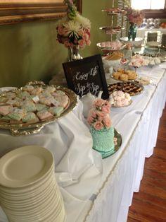 Bridal Tea - Dessert Table  Specialty Holiday Cookie, Mini Cakes, Meringue Kisses, & Cupcakes