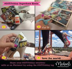 DIY Decoupage Comic Book Shoes (based on Michaels Craft Store picture) — Red Lotus Designz Crafty Craft, Crafty Projects, Crafting, Comic Book Shoes, Comic Books, Comic Book Crafts, Lotus, Diy Clothing, Diy Fashion