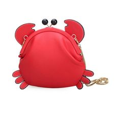 Woman Crab Cute Crossbody Bag Shoulder Bag Girls Storage Bag (81 RON) ❤ liked on Polyvore featuring bags, handbags, shoulder bags, pu handbag, red purse, pocket purse, red crossbody and red crossbody handbags