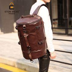 Men Large Travel Duffle Gym Luggage Bag Leather Backpack Shoulder School  Handbag f92dea653a