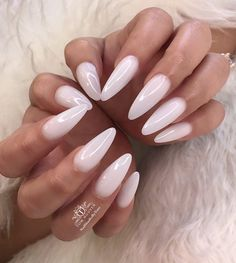 The advantage of the gel is that it allows you to enjoy your French manicure for a long time. There are four different ways to make a French manicure on gel nails. The choice depends on the experience of the nail stylist… Continue Reading → Prom Nails, Long Nails, Wedding Nails, Long White Nails, White Almond Nails, Almond Shape Nails, Long Almond Nails, Natural Almond Nails, White Acrylic Nails