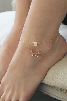Zodiac Constellation ANKLET initial disc layered Celestial ankle bracelet gold filled chain CZ Cubic zirconia diamonds personalized - Anklet - Ideas of Anklet - Zodiac Constellation ANKLET initial disc layered Celestial Ankle Jewelry, Dainty Jewelry, Ankle Bracelets, Cute Jewelry, Gold Jewelry, Jewelry Accessories, Women Jewelry, Fashion Jewelry, Jewelry Design