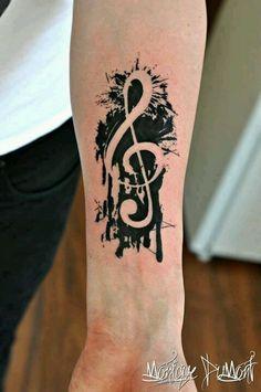 Splattered music symbol. Wow!