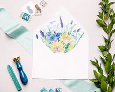 A burst of wildflowers to add some color to your invitation suite 💐 (Photo: Wedding Invitation Envelopes, Wedding Invitation Design, Invitation Suite, Watercolor Sunflower, Envelope Liners, Something Blue, Wildflowers, Sunflowers, Custom Design
