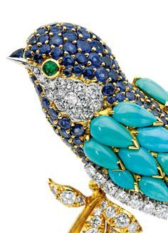 18 Karat Gold, Platinum, Colored Stone and Diamond Brooch, Van Cleef & Arpels, France: signed circa Bird Jewelry, Animal Jewelry, Vintage Jewelry, Jewelry Design, Geek Jewelry, Antique Jewelry, Jewelry Necklaces, Van Cleef And Arpels Jewelry, Van Cleef Arpels