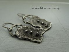 Rustic sterling silver torch textured earrings $42.00 by JoDeneMoneuseJewelry