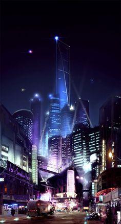 Cityscape 2 by futuristic city, cyberpunk, future city, cyber city. Reminds me of Blade Runner. Ville Cyberpunk, Cyberpunk Kunst, Cyberpunk City, Futuristic City, Futuristic Architecture, Architecture Art, Fantasy City, Sci Fi Fantasy, Games Design