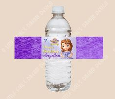 Sofia the First NEW DISNEY PRINCESS Water Bottle Label Birthday Party Custom. $5.00, via Etsy.