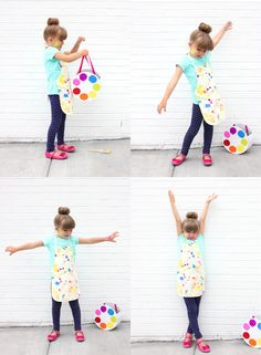 Fun and simple costume for kids: a little artist! Check out the full tutorial for the costume and the palette trick or treat basket.