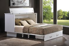 Arason Enterprises Creden-ZzZ Distressed White Cottage Flip Top Cabinet Bed $1,799.00