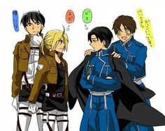 """FMA (Ed & Roy) meets Attack on Titan (Eren & Levi)<- the thing that really amuses me about this is that when I was trying to describe Levi to my sister, I described him as """"kinda like Mustang except with his hair parted down the middle."""""""