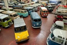 Volkswagen's own restauration garage in Hanover, Germany, in the foreground in the middle a VW 147, in the back a white VW LT twin cab with 4WD.