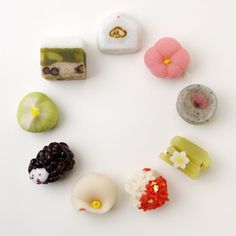 Wagashi - traditional Japanese confectionery. often uses mochi, fruit, bean paste, and other ingredients.