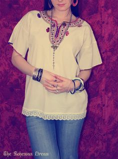 Bohemian blouse top huipil Hippie Boho tunic by TheBohemianDream, €25.00
