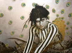 Love the silver leaf in this Brad Kunkle work Bird of Paradise Oil and silver leaf on wood.  30 x 40 inches