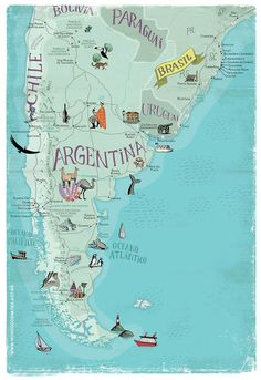Uruguay and Paraguay Argentina Map, Argentina Travel, Travel Maps, Places To Travel, Les Continents, Map Globe, Thinking Day, South America Travel, Vintage Travel Posters