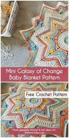 Crochet Afghans Patterns Mini Galaxy of Change Baby Blanket Pattern ~ Crochet Baby Blanket Beginner, Free Baby Blanket Patterns, Crochet Blanket Patterns, Crochet Granny, Free Crochet, Knit Crochet, Crochet Blankets, Crochet Afghans, Baby Patterns