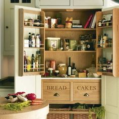 Superieur Freestanding Armoire Transformed Into A Pantry With Added Shelving U0026 Baskets