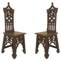 Pair of English Gothic Style Side Chairs | From a unique collection of antique and modern side chairs at https://www.1stdibs.com/furniture/seating/side-chairs/