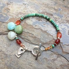 Green Moss Opal Bracelet with Carnelian and Sterling Hill Tribe Silver