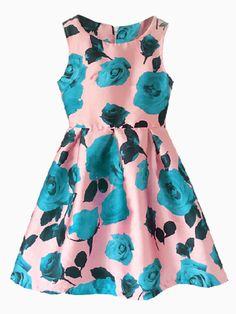 Rose Print Sleeveless Skater Dress